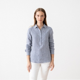 Blue White Gingham Camisa de Lino Fabio