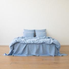 Blue Conjunto de Cama de Lino Crushed Melange