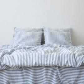 Blue Funda de Almohada de Lino Ticking Stripe