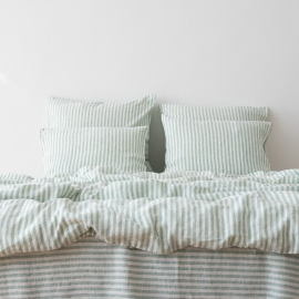 Mint Conjunto de Cama de Lino Ticking Stripe