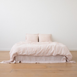 Rosa Conjunto de Cama de Lino Ticking Stripe