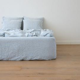 Blue Sábana Bajera Ajustada de Lino Ticking Stripe