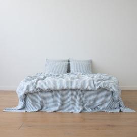 Blue Conjunto de Cama de Lino Ticking Stripe