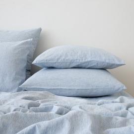 Blue Funda de Almohada de Lino Pinstripe