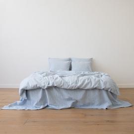 Blue Conjunto de Cama de Lino Pinstripe