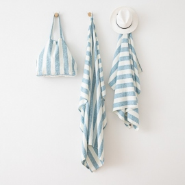 Bolsa de playa de lino Philippe Marine Blue
