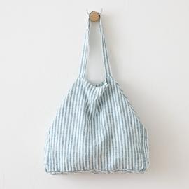 Bolsa de playa de lino Brittany Marine Blue