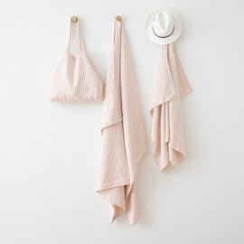Bolsa de playa de lino Brittany Rosa