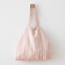 Bolsa de playa de lino Multistripe Rosa