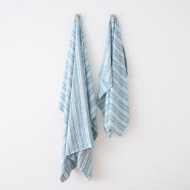 Bolsa de playa de lino Multistripe Marine Blue