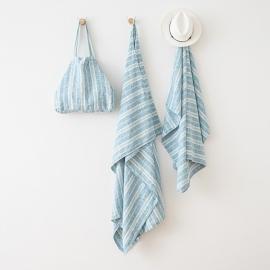 Toalla de Playa de Lino Multistripe Marine Blue