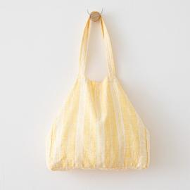 Bolsa de playa de lino Multistripe Yellow