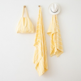 Toalla de Playa de Lino Multistripe Yellow