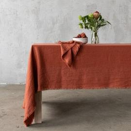 Mantel de lino brick Terra con flecos hechos a mano