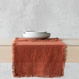 Mantel individual de lino de brick Terra con flecos hechos a mano