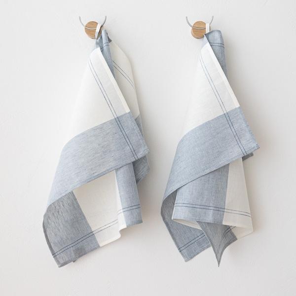 Juego de toalla de ba/ño de lino en color blanco modelo Lara