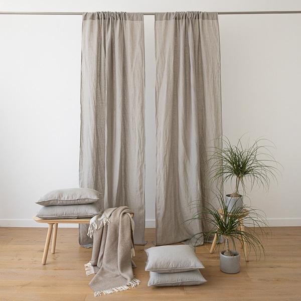 cortina de lino taupe stone washed con bolsillo para barra - Cortinas Lino