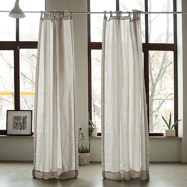 cortina con lazos de lino silver stone washed - Cortinas Lino