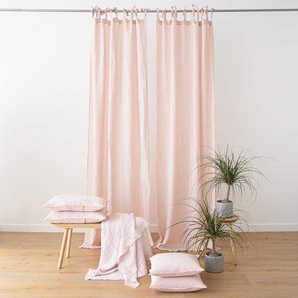 cortina con lazos de lino rosa stone washed - Cortinas Lino